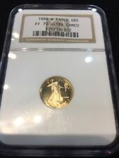 1999-W NGC PF70 UCAM $5 PROOF GOLD EAGLE 1/10 Ounce PR Ultra Cameo West Point