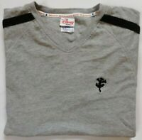 Disney T-Shirt Nice Men's Gray Tee Size (S) Short Sleeves V Neck Style Cotton