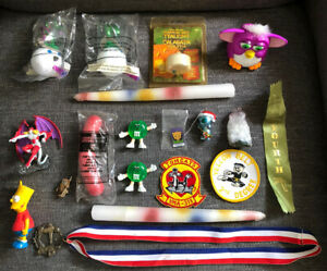 19 Piece Junk Drawer Lot Toys Metals Ribbons Candles Many Fun Different Items