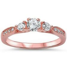 Rose Gold Plated Cz Promise Fashion .925 Sterling Silver Ring Sizes 4-11