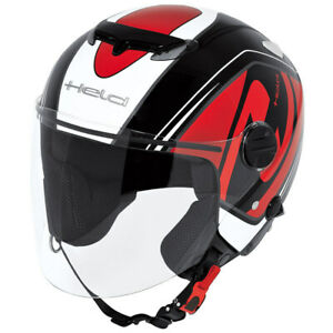 Held Roller Scooter Motorrad Jethelm Top Spot mit Sonnenblende Größe L in Rot