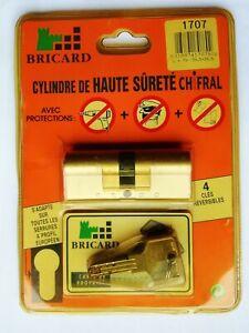 cylindre barillet  haute sécurité BRICARD chifral 15pistons 40-40 mm 4 clés NEUF