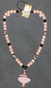"""PINK AND BLACK BALLERINA DOLL BEADED NECKLACE 16"""" STRICTLY NATURAL LTD"""