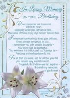 Memorial Grave Card IN LOVING MEMORY ON YOUR BIRTHDAY Sentimental Verse Memoriam
