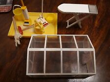 VINTAGE 1970's LUNDBY DOLLS HOUSE GARDEN GREENHOUSE AND CLEANING EQUIPMENT