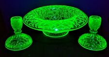 Green Depression Glass DECO Console Bowl w/Matching Candlesticks