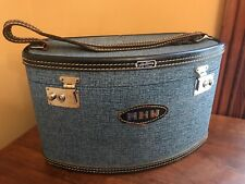 Rare Vintage Hartmann Caravan Blue Vinyl Train Coametic Case