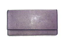 NEW GENUINE AAA GRADE STINGRAY SKIN LEATHER TRIFOLD WOMEN WALLET PURPLE COLOR