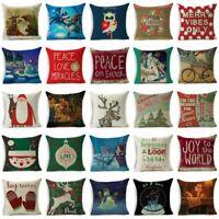 Xmas Christmas Pillow Case Cotton Linen Throw Sofa Cushion Cover Home Decor Gift
