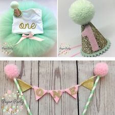 Mint/Pink Cake Smash/1st Birthday Outfit With Mini Party Hat & Cake Topper