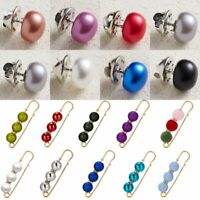 Womens Crystal Pearl Safety Pin Brooch Cardigan Clip Breastpin Shawl Tippet Gift