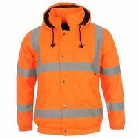 Dunlop Mens Hi Vis Bomber Jacket Workwear Coat Top Water Resistant Hooded Zip