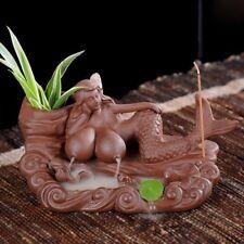Laying Mermaid Incense Burner Brown Ceramic Stick Cone Holder Smoke Backflow NEW