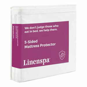 Linenspa Five Sided Waterproof Vinyl Free Fitted Mattress Protector QUEEN White