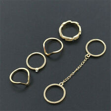 6Pcs/set Rhinestones Gold Rings Knuckle stacking Band Mid Ring P14