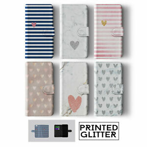 MARBLE GLITTER HEARTS ROSE GOLD IPHONE SAMSUNG WALLET PHONE CASE