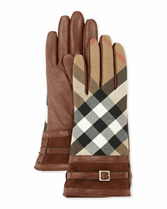 100% AUTHENTIC NEW WOMEN BURBERRY BRIDLE HOUSE CHECK NICOLA CHECK GLOVES US 6.5