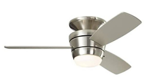 Harbor Breeze Mazon 44-in Brushed Nickel Flush Mount Indoor Ceiling Fan with Lig