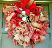 Handmade Country Christmas Burlap Wreath Deco Mesh Candy Cane Door Decor