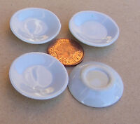 1:12 Scale 4 White Round Plates 3cm Dolls House Miniature Ceramic Accessory W80