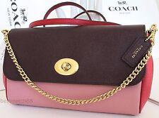 coach leather F57501 bag purse crossbody shoulder mini ruby clutch burgundy pin