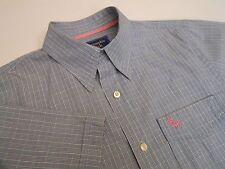 Abercrombie & Fitch Men's Casual Cotton Shirt Short Sleeve Blue Plaid Size L