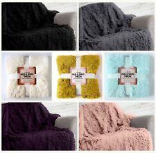 Hug Snug Throw Fluffy Soft Warm Cosy Sofa Bed Fleece Fur Blanket / Cushion Cover