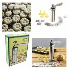 New 20 Pcs Biscuit Maker Stamp Stainless Steel Baking Cookie Press Pump Machine
