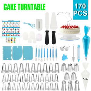 170Pcs Cake Decorating Kit Turntable Rotating Baking Flower Icing Piping Nozzles