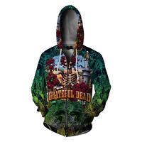 Grateful Dead Music Rock Band Clothing Apparel New Men's Zipper Hoodie