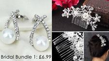Bundle Pearl Earrings+Bride Bridesmaid wedding Crystal Hair Accessories Pin Comb