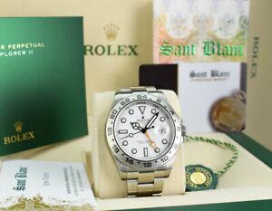 ROLEX 42mm SS Explorer II POLAR White Index BOX BOOKS CARD 216570 SANT BLANC