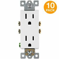 Decorator Receptacle Self Grounding Residential Grade 2 Pole 15A 125V 10 Pack