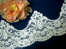 "BR002-7 "" Ivory Wedding bridal embroidered corded lace , Vintage Lace Trim by y"
