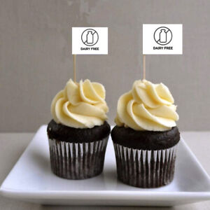 10 x DAIRY FREE Cup Cake Flag Toothpick Topper Food Allergy Intolerance