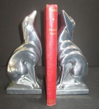Frankart Russian wolfhound Borzoi dog art deco unfinished aluminum bookends pair