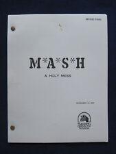 ORIGINAL MASH COMPLETE TV SCRIPT 'A HOLY MESS' From Original Crew Member
