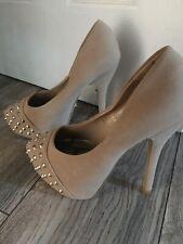 Dollhouse 'Spike' Black Studded Rhinestone Stiletto Peep Toe Goth Heels Size 8