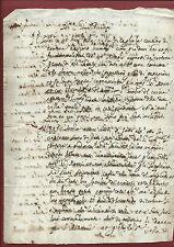 Manoscritto 1690 Lettera al Cardinale Informa Molestie di Nagnetti Ville Cortona