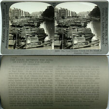 Keystone Stereoview of BOATS on Canal Shameen, CHINA From the 600/1200 Card Set