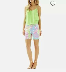 """Lilly Pulitzer Jayne Lovers Coral  7"""" Inseam Shorts Size 10"""