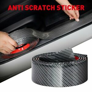 Soft Carbon Fiber Car Door Plate Sill Scuff Cover Anti Scratch Sticker 2Meters L