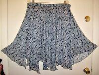 Women's ICE Blue White Flowey Floral Print Pannel Overlay Skirt Sz L Work Church
