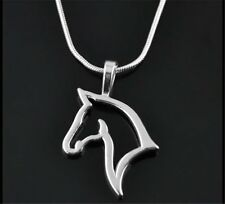 Punk Men Women Unisex Swift Horse Head Silver Tone Chain Necklace Pendant Gifts