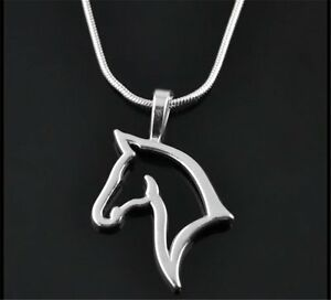 Fashion Punk Men Womens Unisex Swift Horse Head Silver Chain Necklace Pendant