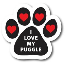 """I Love My Puggle Pawprint Car Magnet 5"""" Paw Print Auto Truck Decal Magnet"""