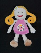 """Peluche doudou poupée KIKOU """"je suis une princesse"""" blonde robe rose 27 cm TTBE"""