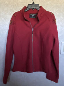 Norlender Made In norway zip front Red embroidered 100% wool sweater Medium