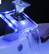 Luxury Glass Waterfall Basin Faucet LED Color Changing Bathroom Battery Mixer