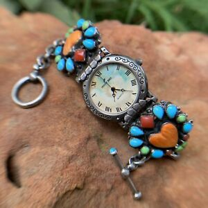 LEO FEENEY Peyote Bird Watch~Spiny Oyster~Turquoise~Red Coral~Gaspeite~Sterling